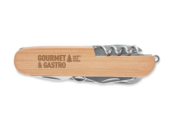 Bæredygtig multifunktions lommekniv i bambus og rustfrit stål