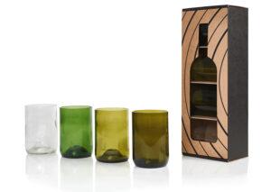 rebottled recycled glas fra vinflasker
