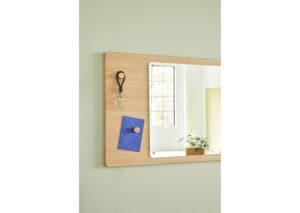 Vægspejl-med-tavle--firkantet-FSC-egetrae-vaeg